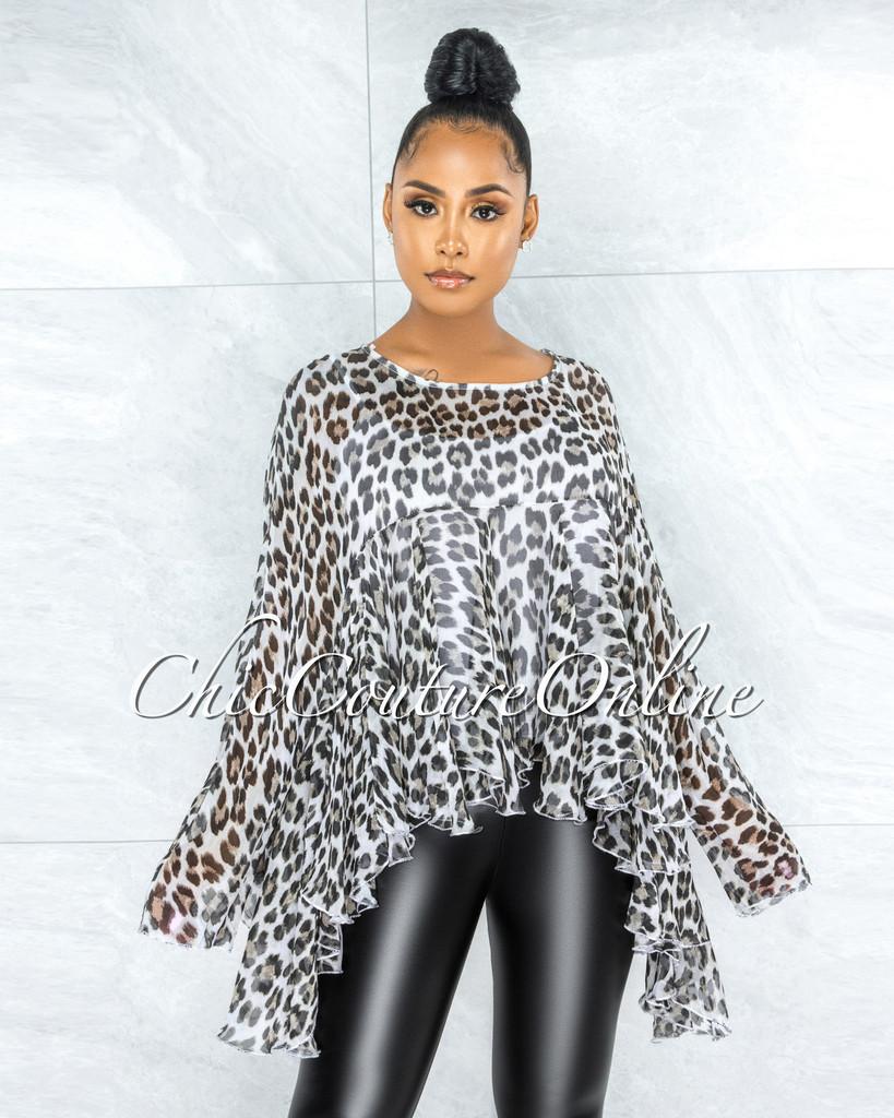 Hachi Leopard Print Organza Cover Up Ruffle Top