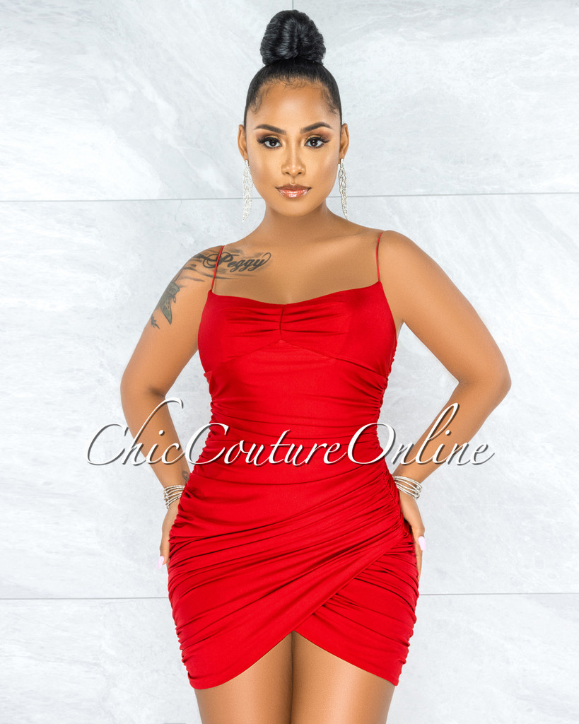Yamila Red Ruched Wrap Front Dress