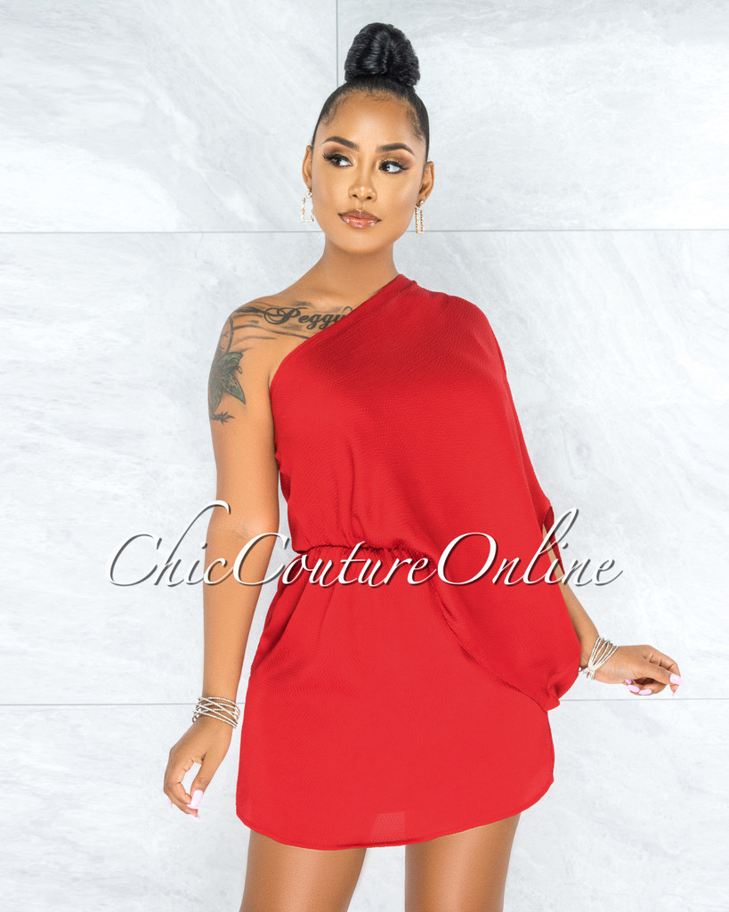 Garnet Red Single Cold Shoulder Overlay Silky Dress