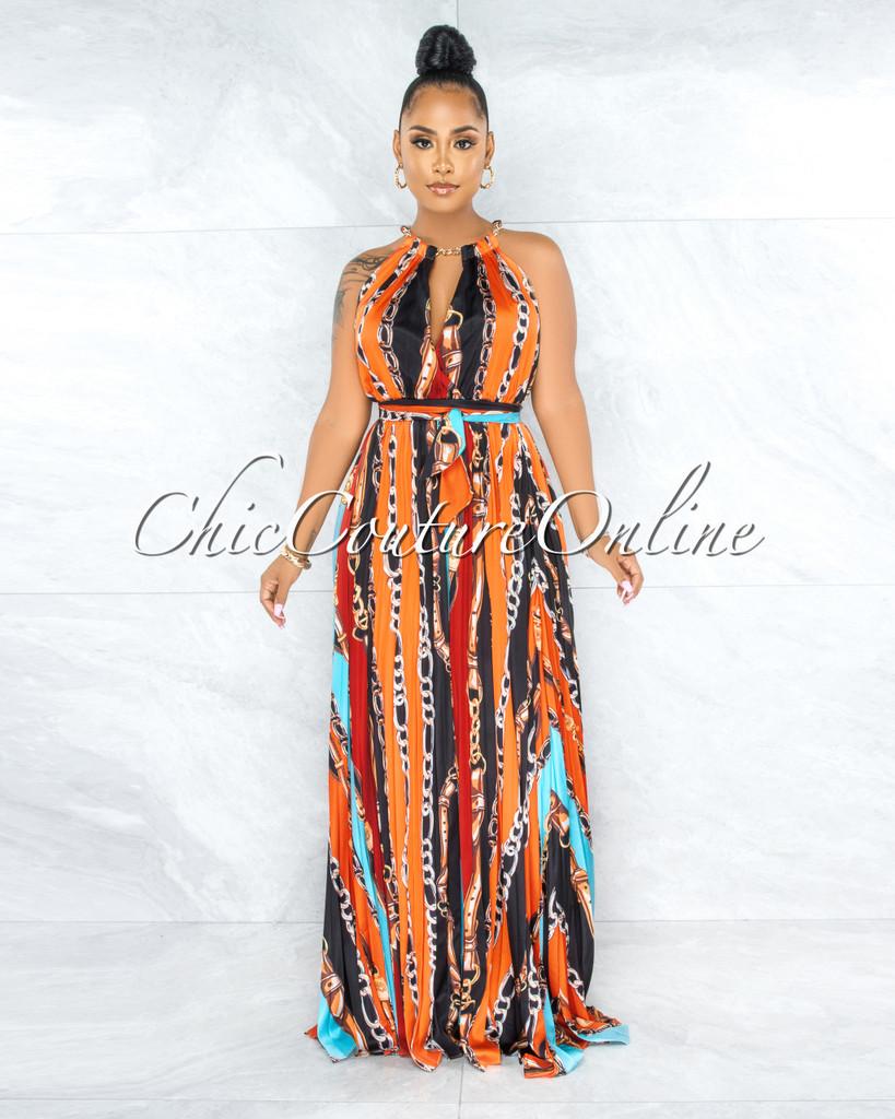 Esther Orange Black Print Gold Chain Neck Halter Dress