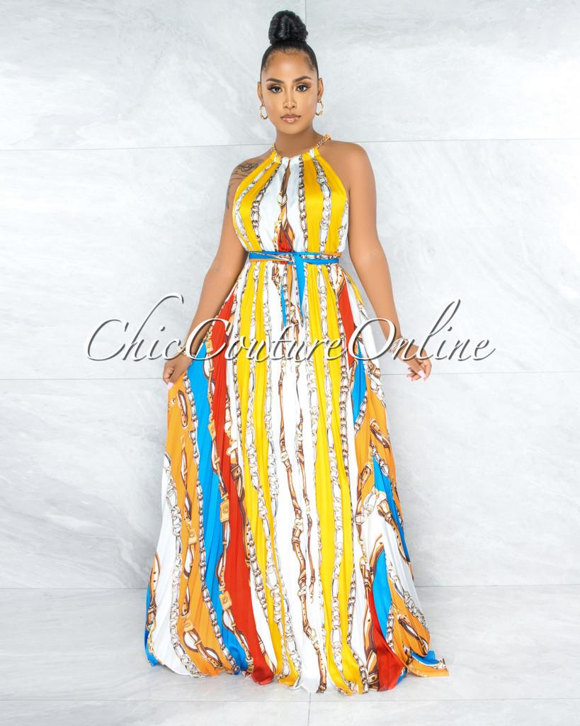 Esther White Yellow Print Gold Chain Neck Halter Dress