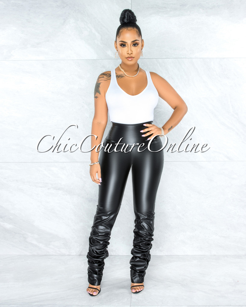 Alosia Black Faux Leather Ruched Bottom Leggings