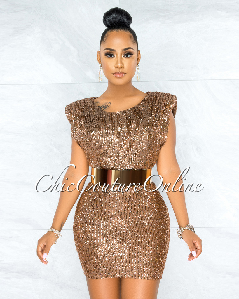 Chancellor Bronze Sequin Padded Shoulder Mini Dress