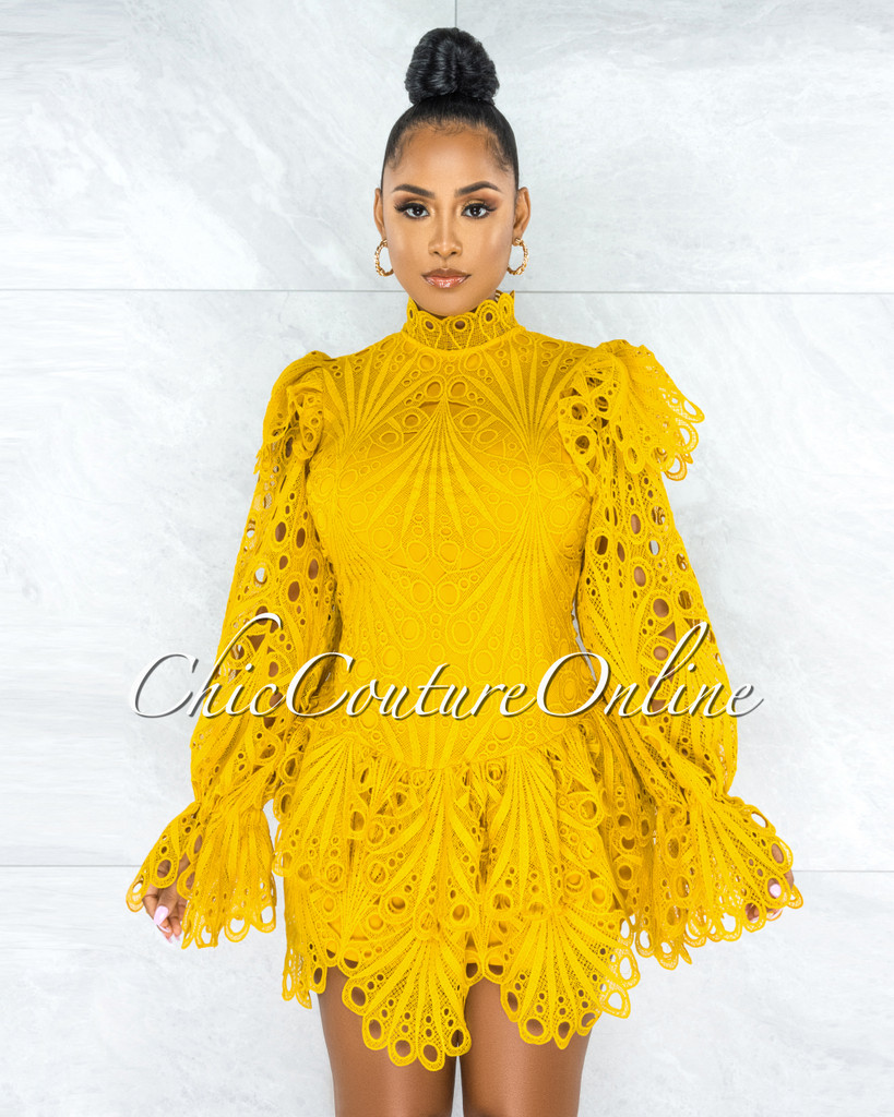 Zamora Mustard Crochet Embroidery Ruffle Skater Dress