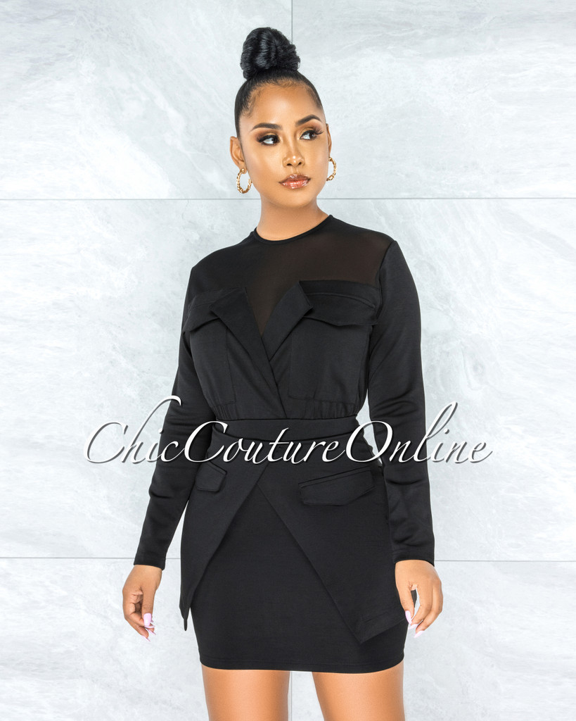 October Black Mesh Neckline Trench Overlay Dress