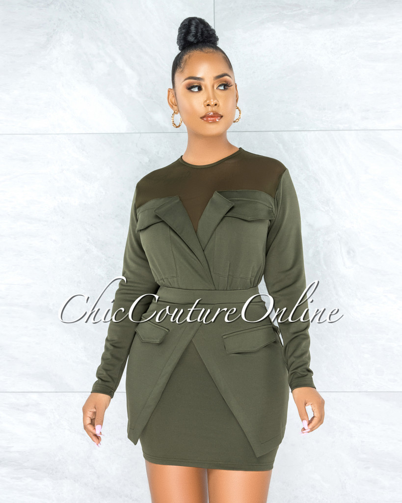 October Olive Green Mesh Neckline Trench Overlay Dress