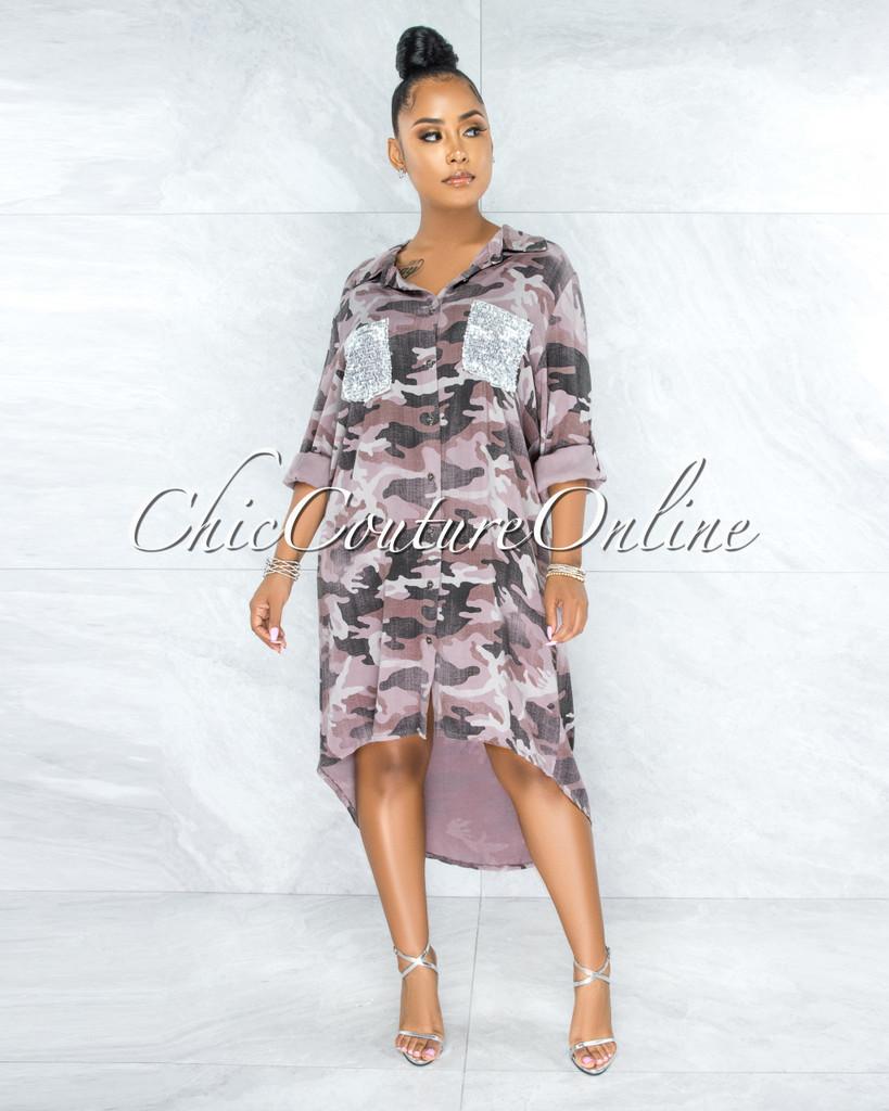 Baxter Mauve Camo Silver Sequins Pockets Shirt Hi-Lo Dress