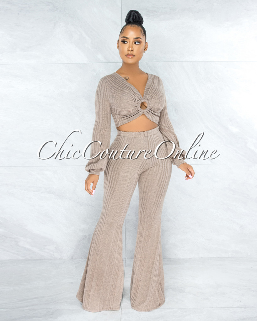 Karan Light Brown O-Ring Detail Top & Pants Ribbed Set