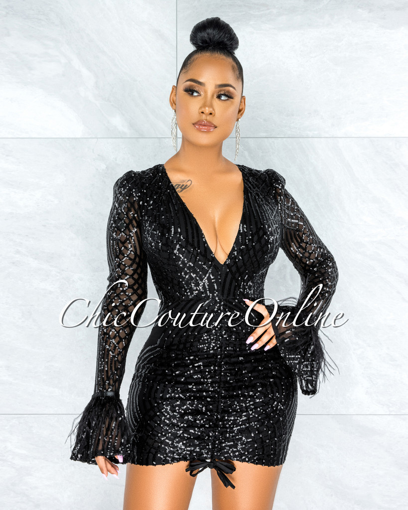 Cotrena Black Sequins Feather Sleeves Front Ruched Dress