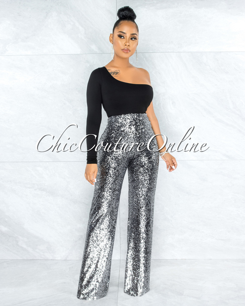 Odele Black Silver Sequins Palazzo Pants