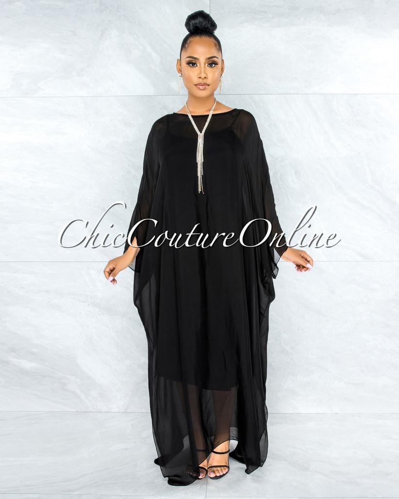 Finian Black Sheer Cover-Up w Tank Maxi Dress
