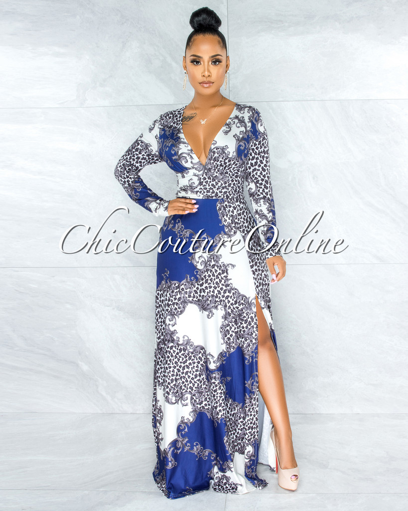 Hafiz Royal Blue Print Draped Waist Side Slit Maxi Dress