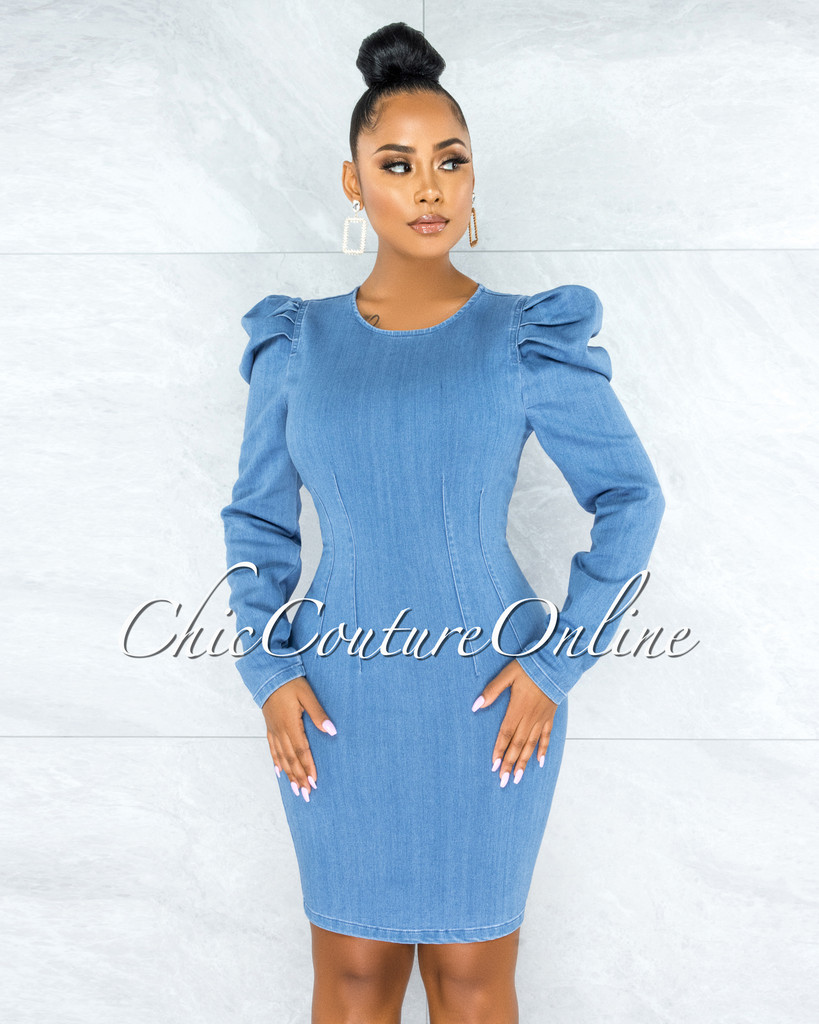 Jesse Blue Denim Bubble Sleeves Dress
