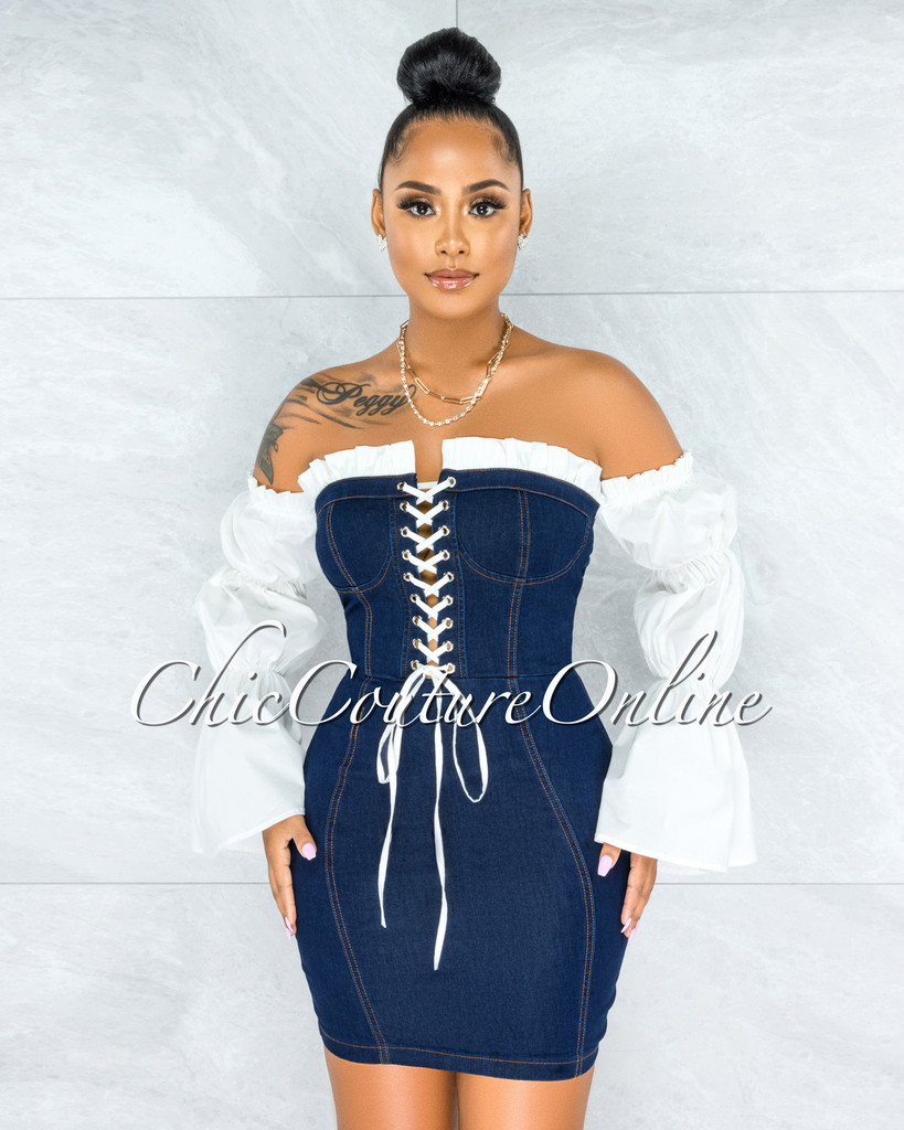 Gitana Dark Blue Denim White Bubble Sleeves Dress