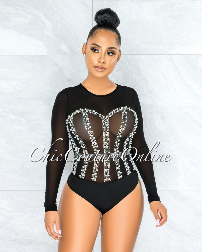 Perlie Black Mesh Iridescent Rhinestones & Pearls Bodysuit