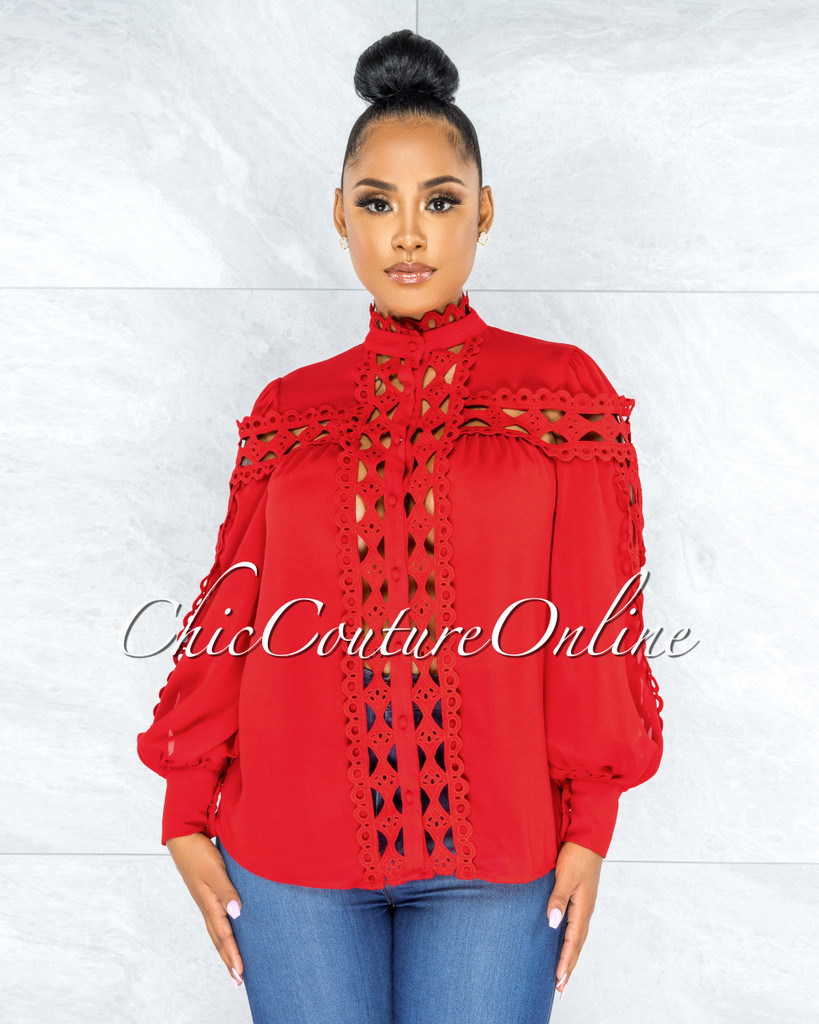 Zerelda Red Crochet Accent Buttoned Sheer Blouse