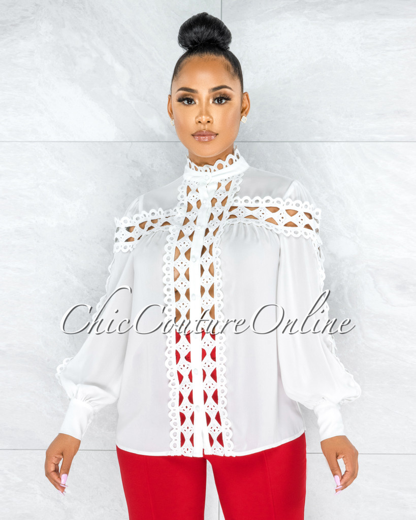 Zerelda Off-White Crochet Accent Buttoned Sheer Blouse