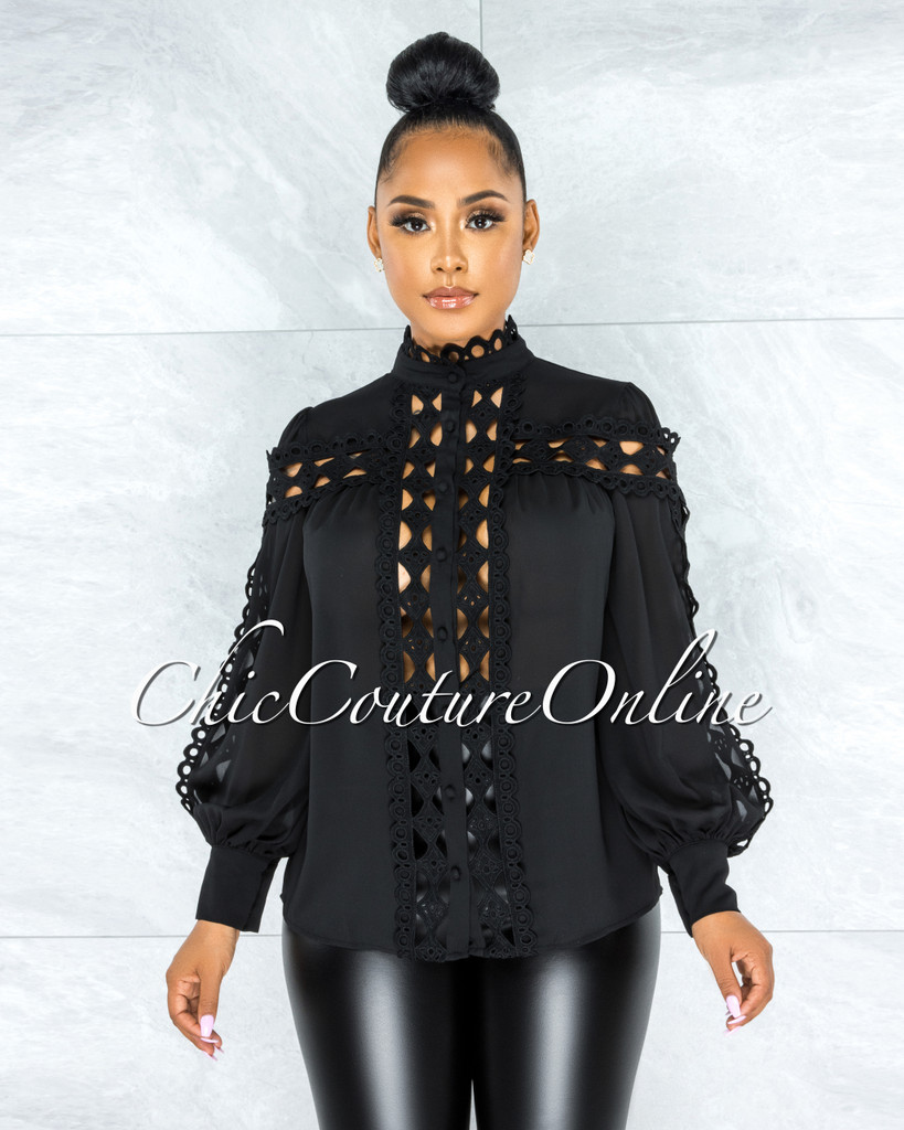 Zerelda Black Crochet Accent Buttoned Sheer Blouse