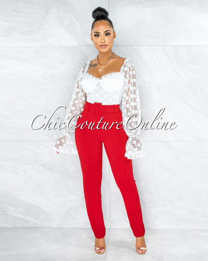 Cerny Red Belt High Waist Pants