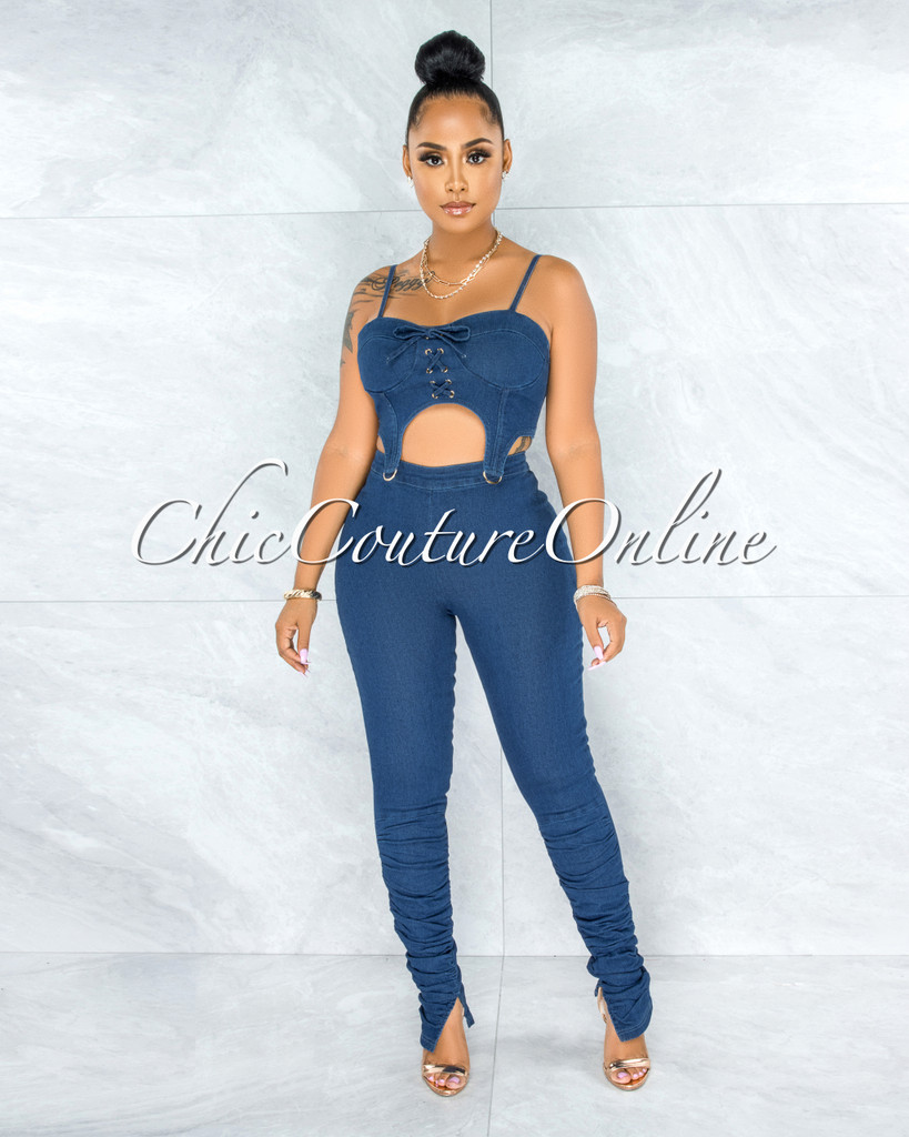 Francis Blue Denim Gold Accent Two Piece Set