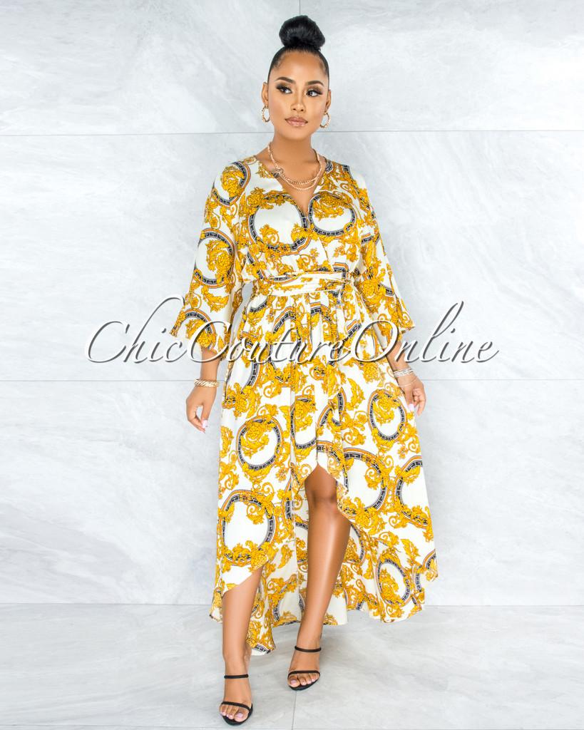 Govind Off-White Gold Print Hi-Lo Maxi Dress
