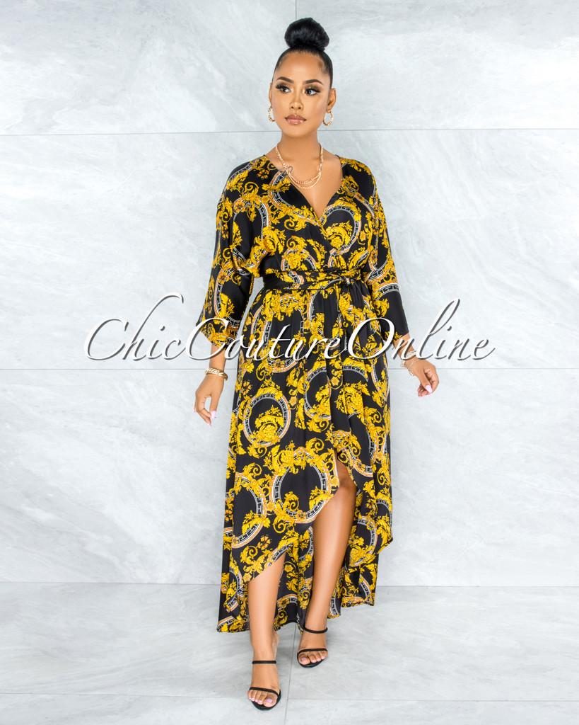 Govind Black Gold Print Hi-Lo Maxi Dress