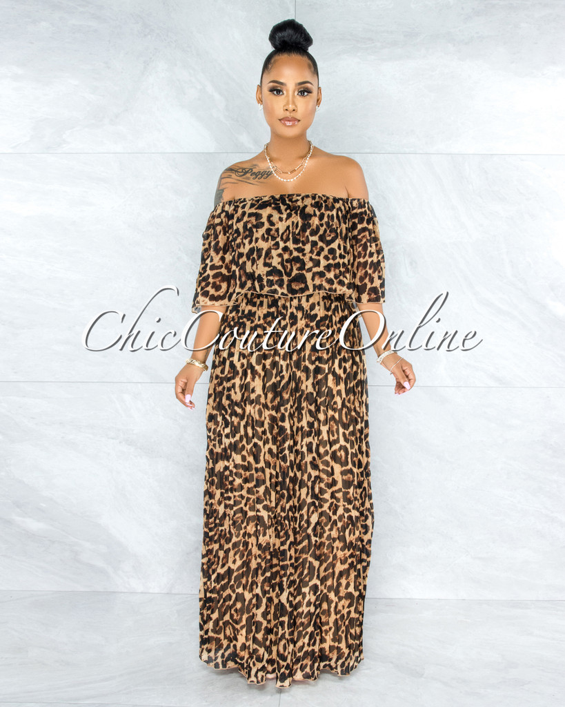 Hershel Leopard Print Pleated Luxe Maxi Dress