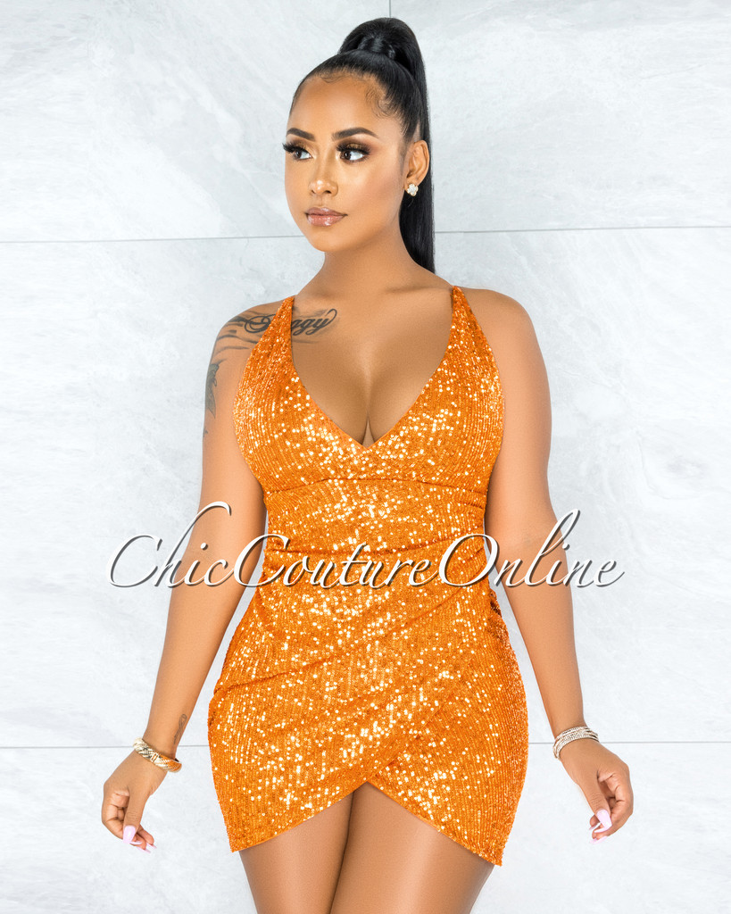 Clotilde Orange Sequins Drap Details Overlay Mini Dress