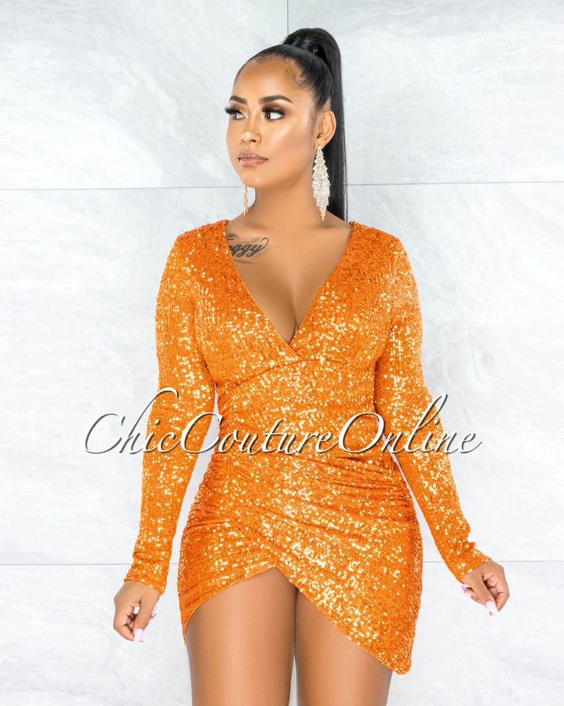 Dabria Orange Sequins Ruched Wrap Mini Dress