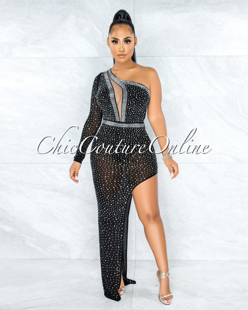 Radley Black Rhinestones Single Sleeve Bodysuit Dress