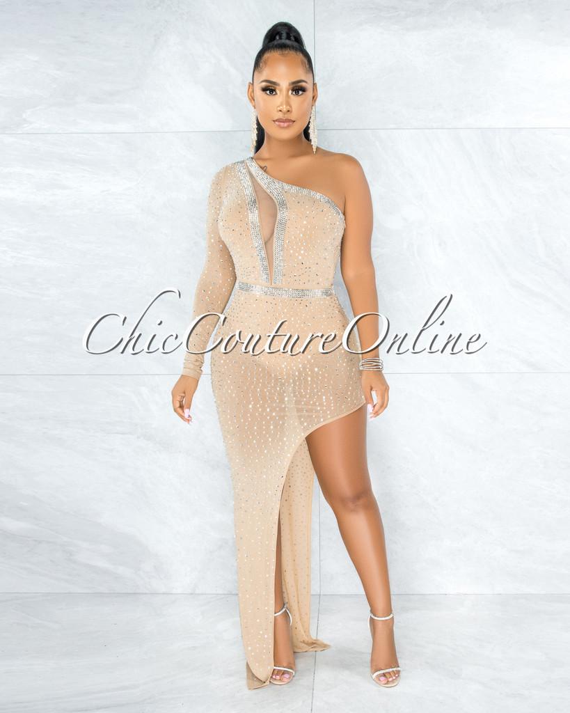 Radley Nude Rhinestones Single Sleeve Bodysuit Dress