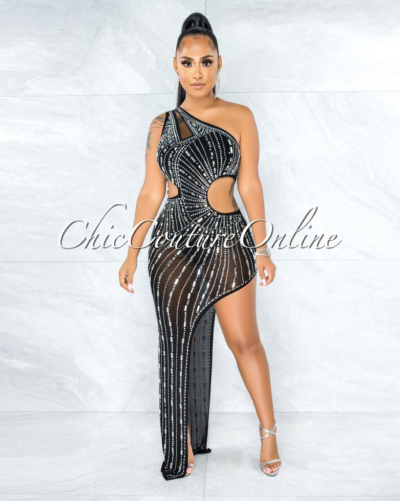 Quiller Black Rhinestones Cut-Out Bodysuit Dress