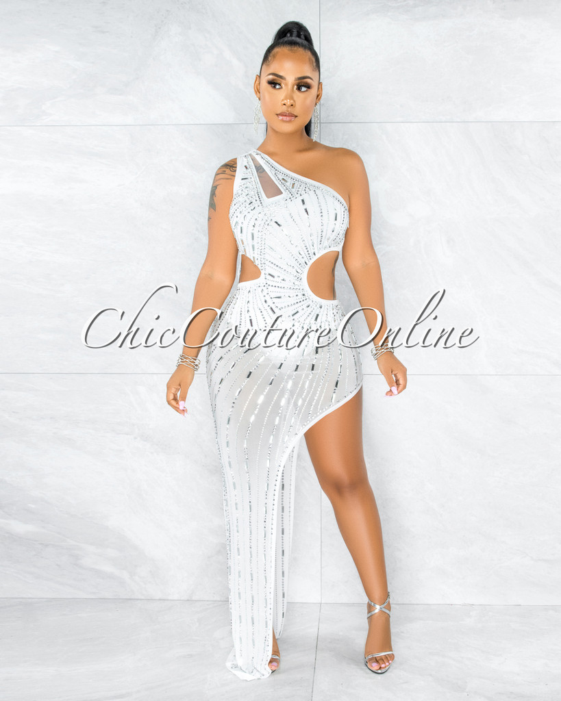 Quiller Off-White Rhinestones Cut-Out Bodysuit Dress