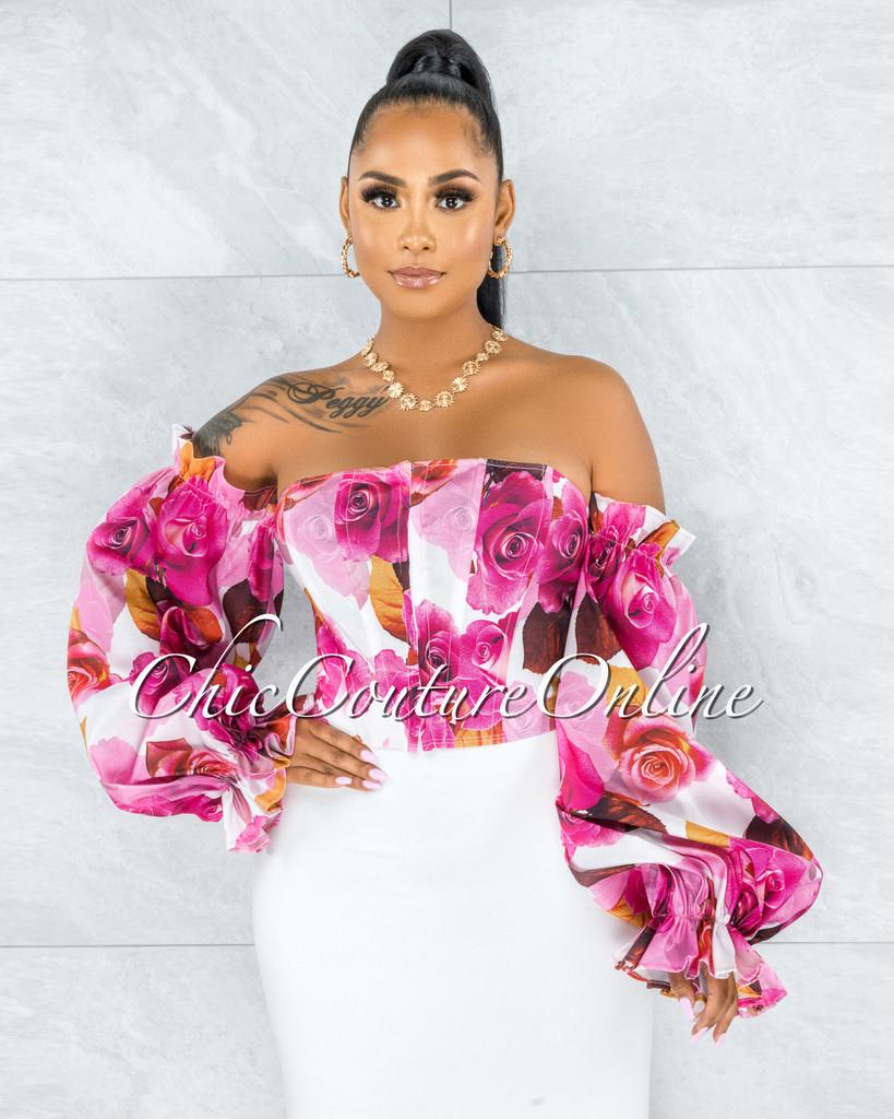Adunia Fuchsia Floral Print Bubble Sleeves Corset Top
