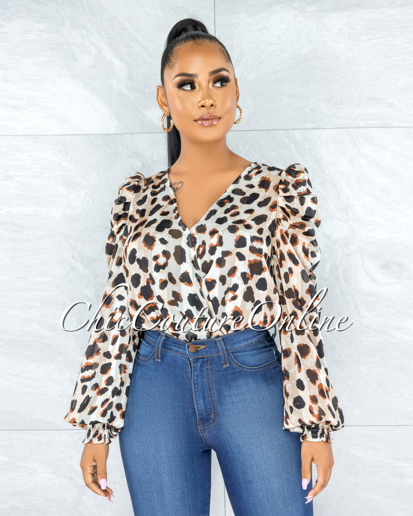 Brenna Leopard Print Sheer Organza Bodysuit