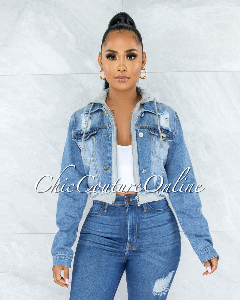 Drina Light Denim Distressed Grey Sweater Illusion Hooded Jacket