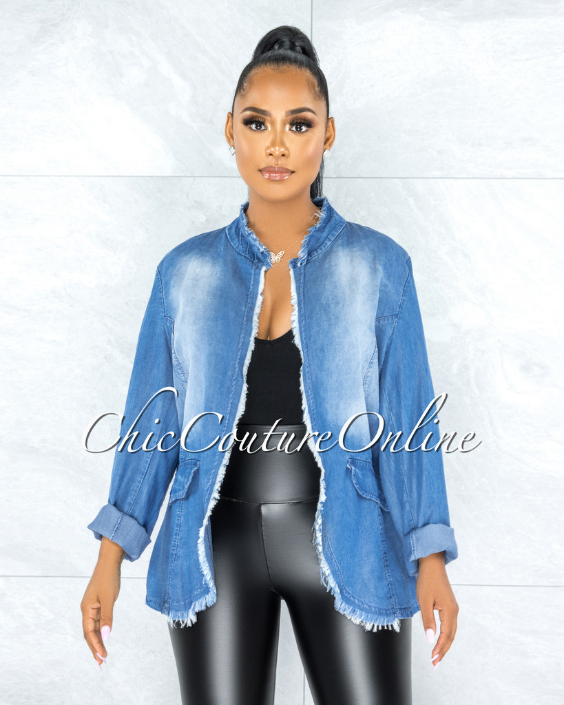 Hawke Blue Chambray Distressed Fringe Jacket