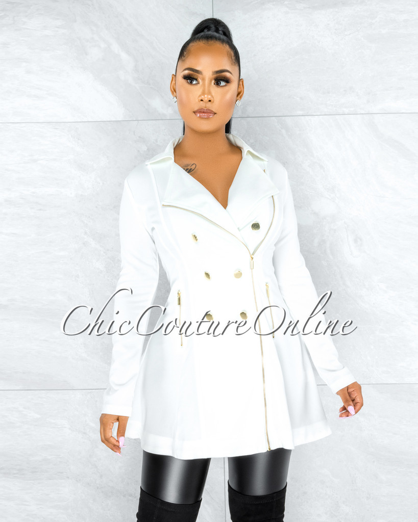 Baurice Off-White Gold Zipper & Buttons Trench Coat
