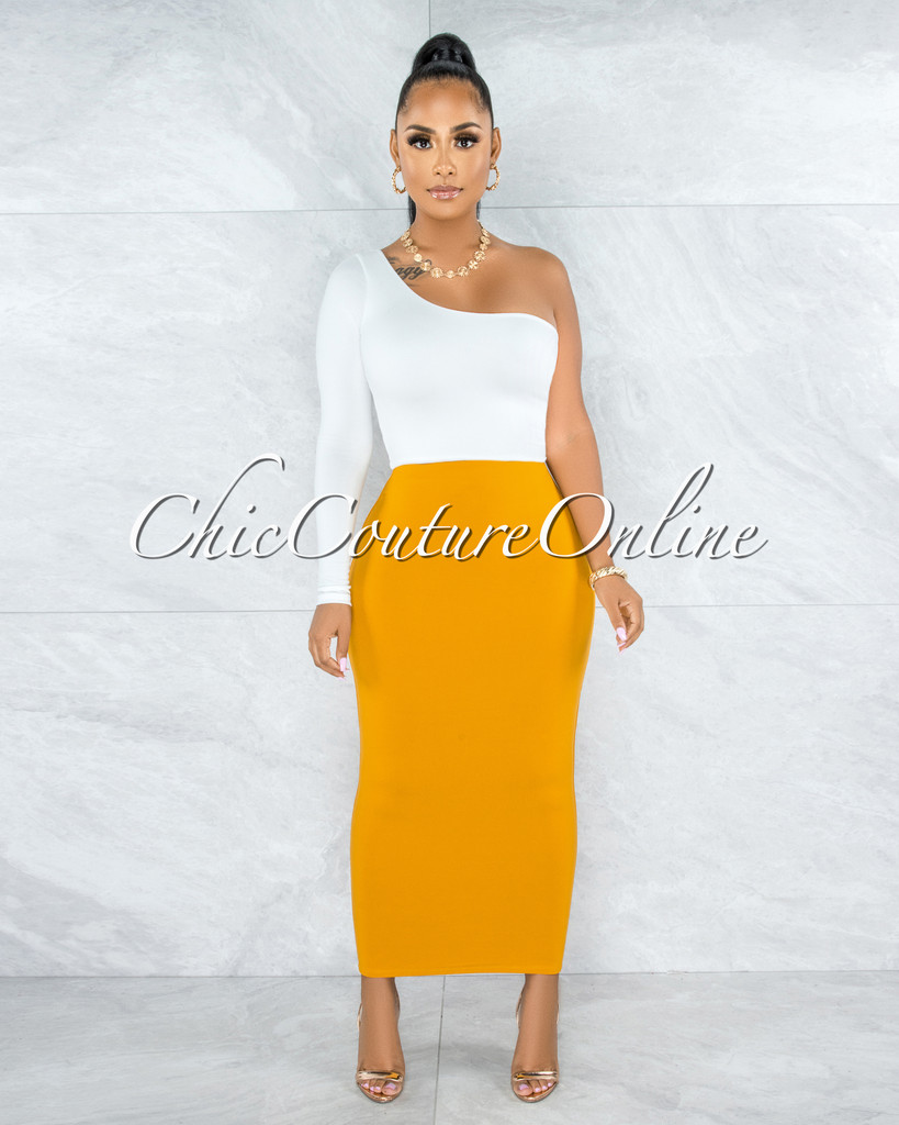 Doneva Mustard Double Lined Pencil Maxi Skirt