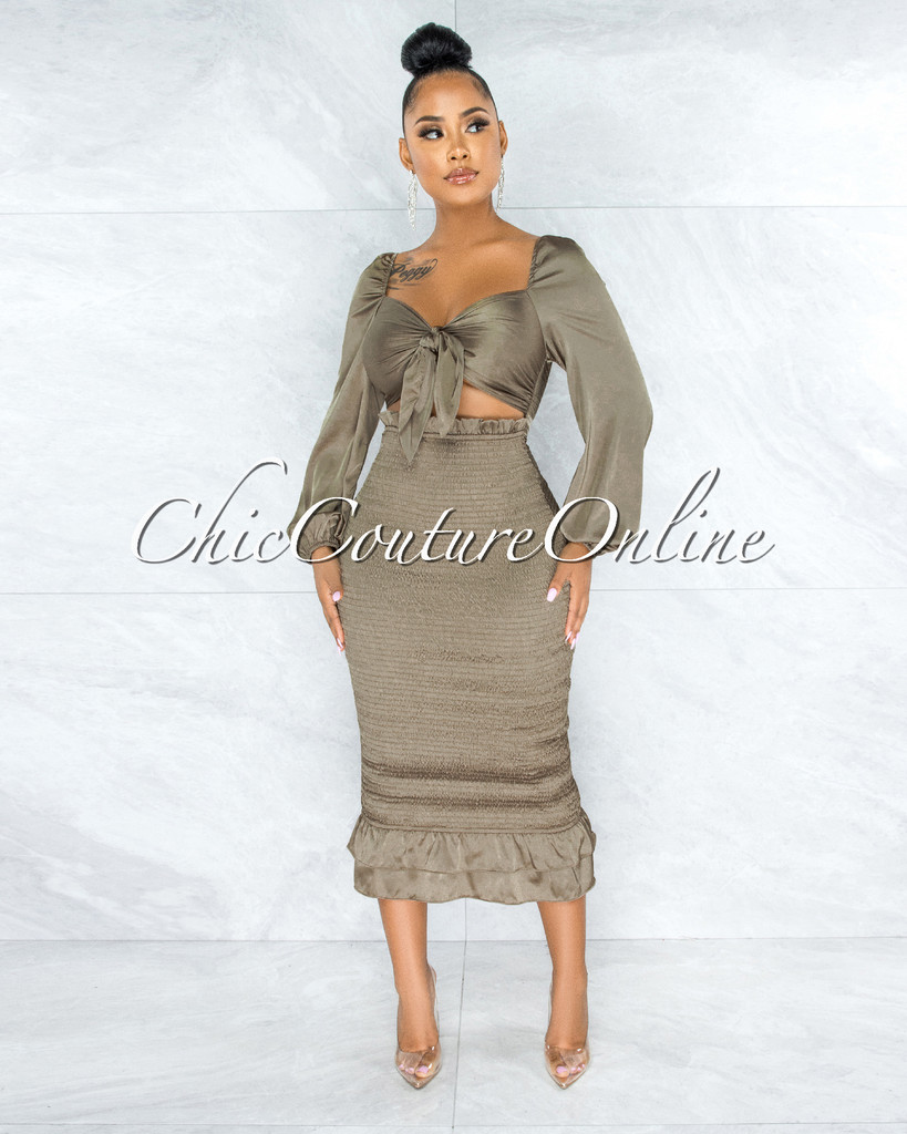 Emina Light Olive Smocked Top Ruffle Midi Dress