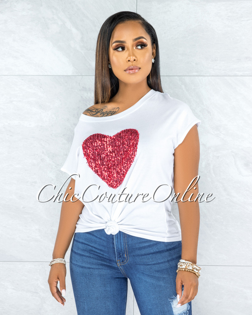 Zaria Off-White Red Sequins Heart T-Shirt