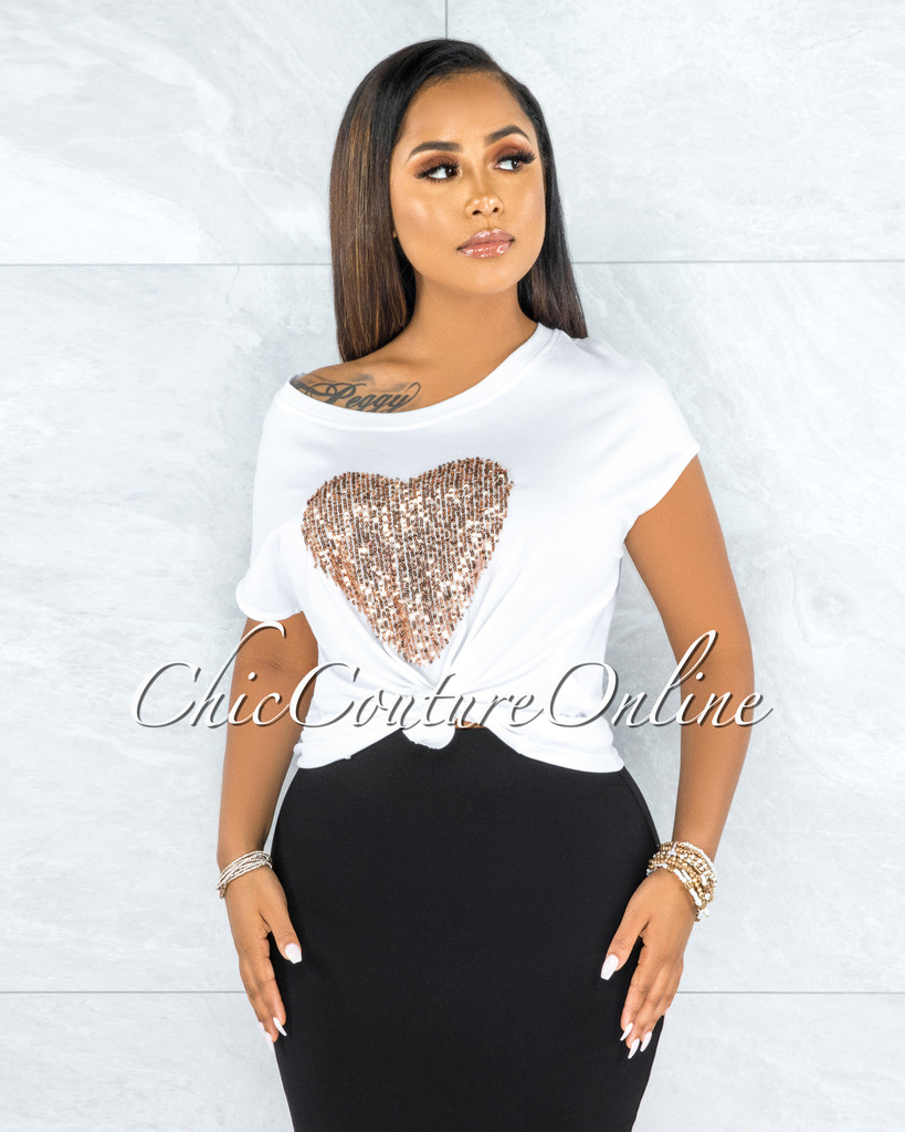 Zaria Off-White Rose Gold Sequins Heart T-Shirt