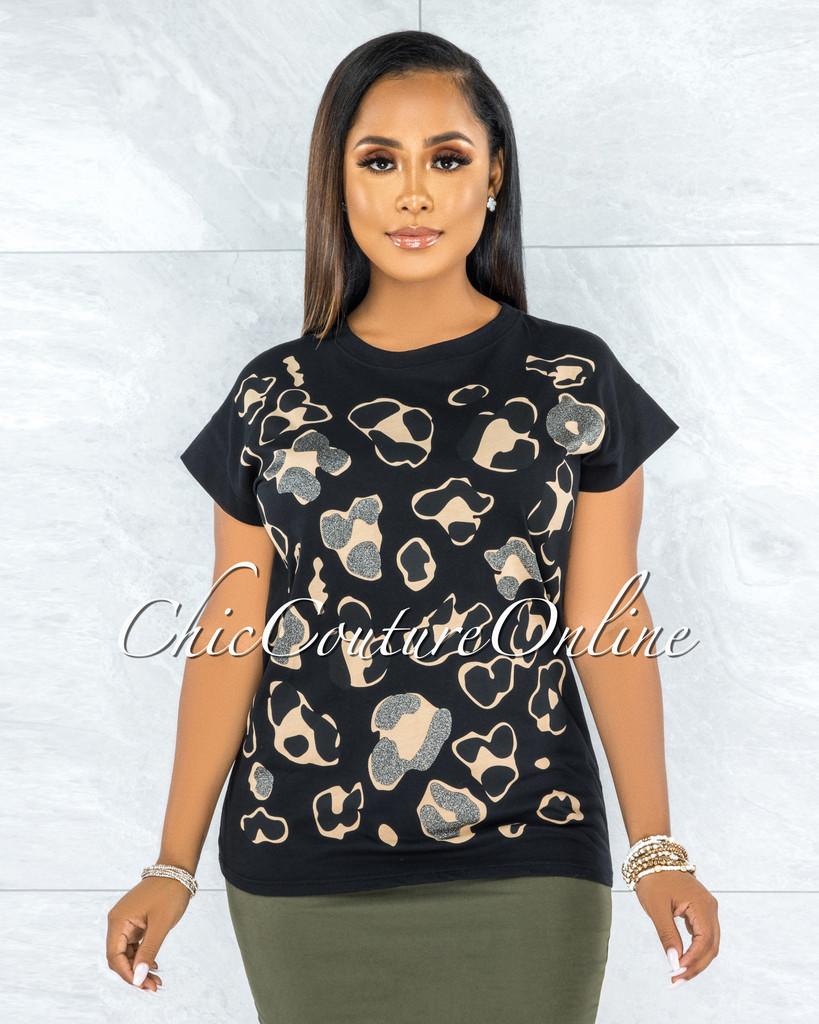 Abela Black Nude Shimmer Leopard Print T-Shirt