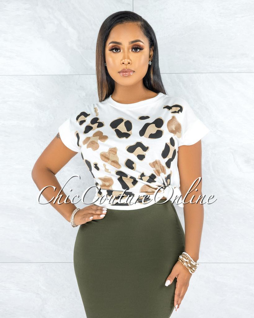 Abela White Black Shimmer Leopard Print T-Shirt