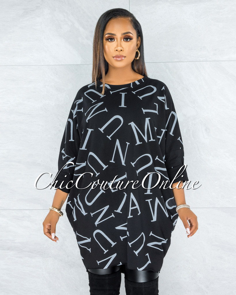 Miguel Black Grey Letters Print Over-sized Shirt Dress