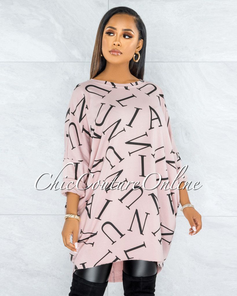 Miguel Dusty Pink Black Letters Print Over-sized Shirt Dress