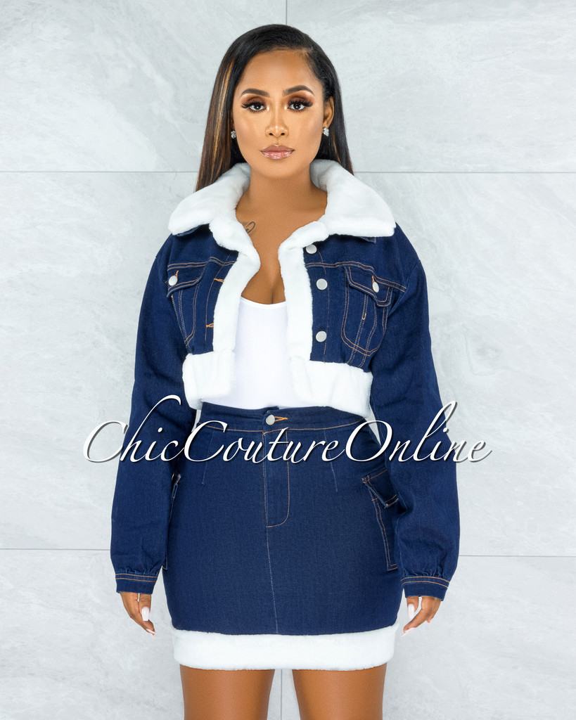 Latika Dark Denim White Fur Trim Two Piece Set