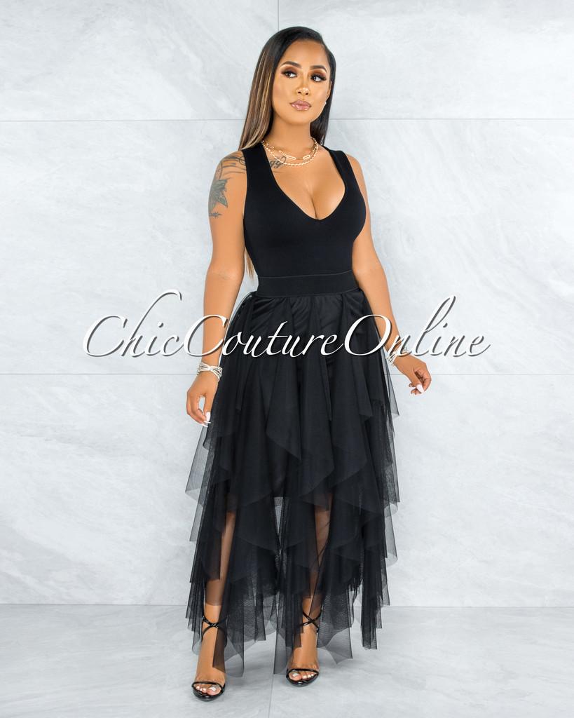 Vittoria Black Tulle Ruffle Maxi Skirt