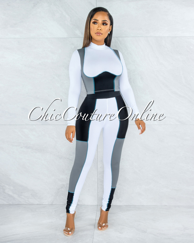 Kizza White Grey Turquoise Trim Two Piece Sporty Set