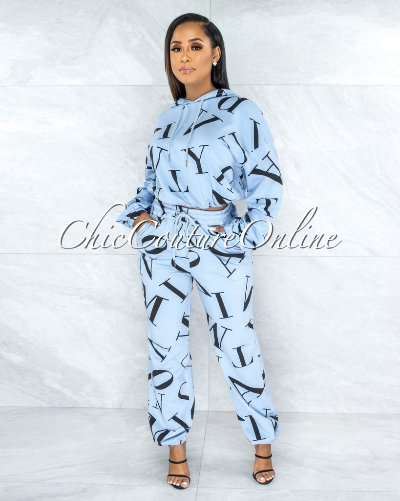 Ordway Baby Blue Black Letter Print Jogger Pants Hoodie Set